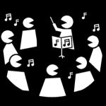 Piktogram av flere personer som synger sammen
