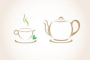 Kaffekanne og kaffekopp. Illustrasjon.