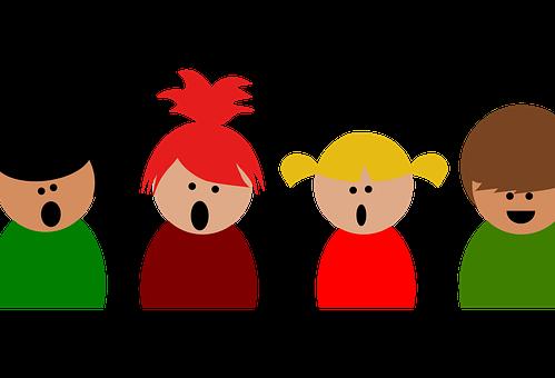 Barn som synger. Foto.