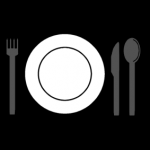 Piktogram av tallerken med bestikk