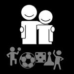 Piktogram er personer som spiller spill sammen