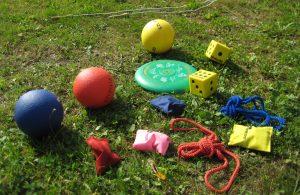 Terninger, hoppetau, erteposer og baller som ligger på grønt gress