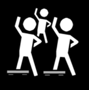Piktogram tre personer som danser