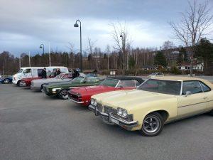 Amerikanske biler stilt opp på rekke. Foto.