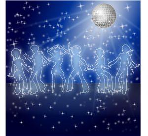 Ungdom som danser på diskotek. Illustrasjon.